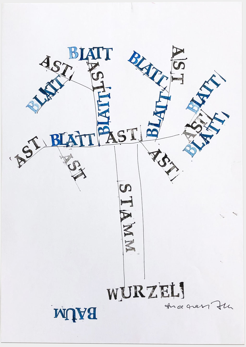 "Beck, Andreas, Staatsintendant München, ""Ohne Titel"" 1, 30x21 cm, Stempel auf Papier"