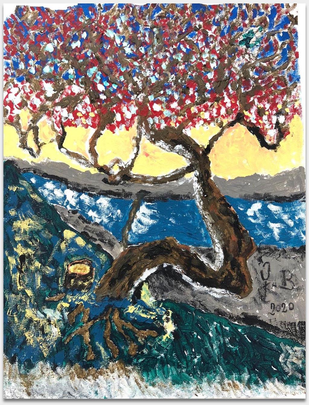 """Berger, Senta, Schauspielerin, Filmproduzentin, Sängerin, """"Baum am Isarhang"""", 39x30 cm, Öl auf Leinwand, handsigniert"""