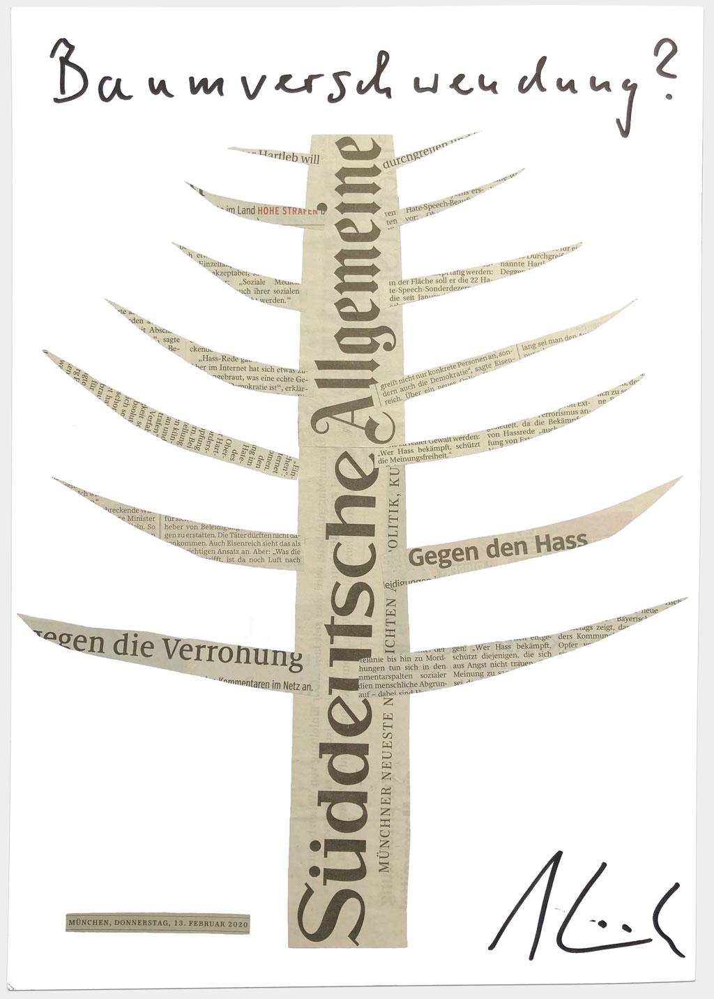 """BildEisenreich, Georg, Bayerischer Justizminister und Schirmherr der Bereitschaften des Bayerischen Roten Kreuzes, """"Baumverschwendung?"""", 30x42 cm, Collage auf Karton, handsigniert"""
