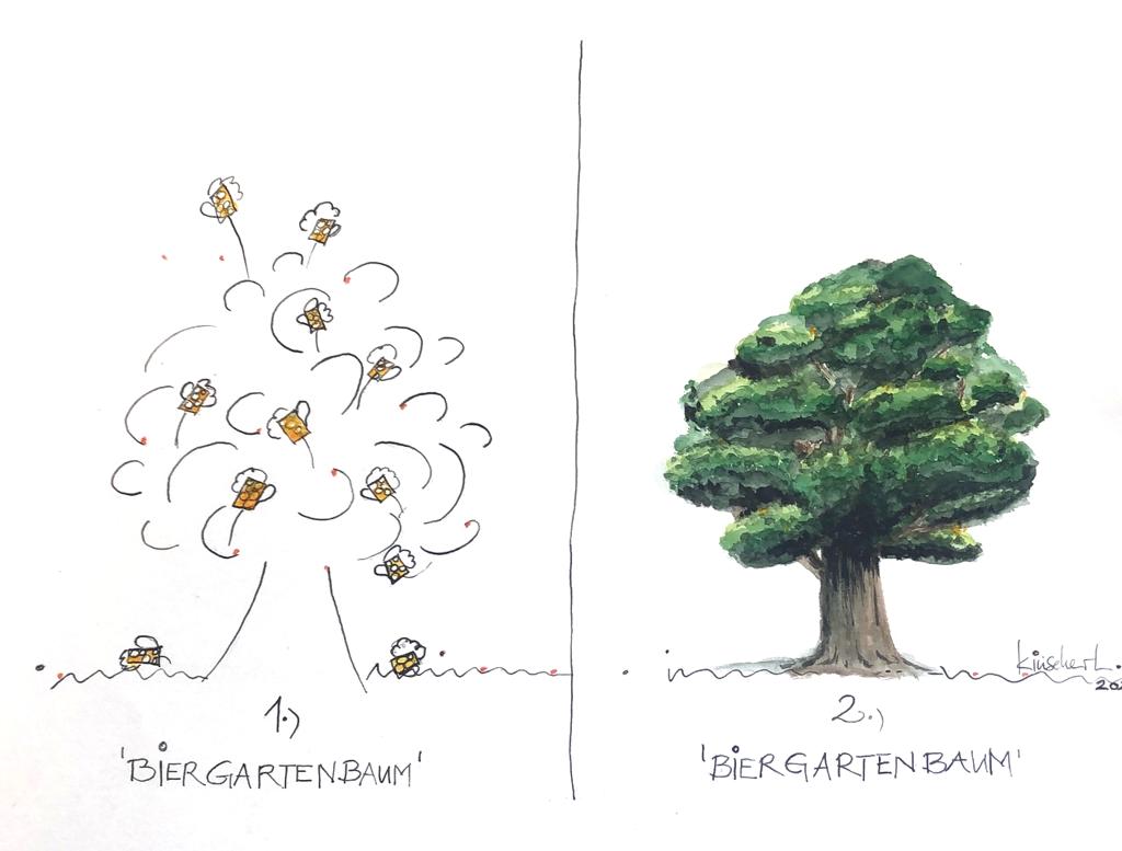 """Kinseher, Luise, Schauspielerin und Kaberettistin, """"Variation Biergartenbaum"""", 30x42 cm, Wasserfarbe auf Papier, handsigniert"""