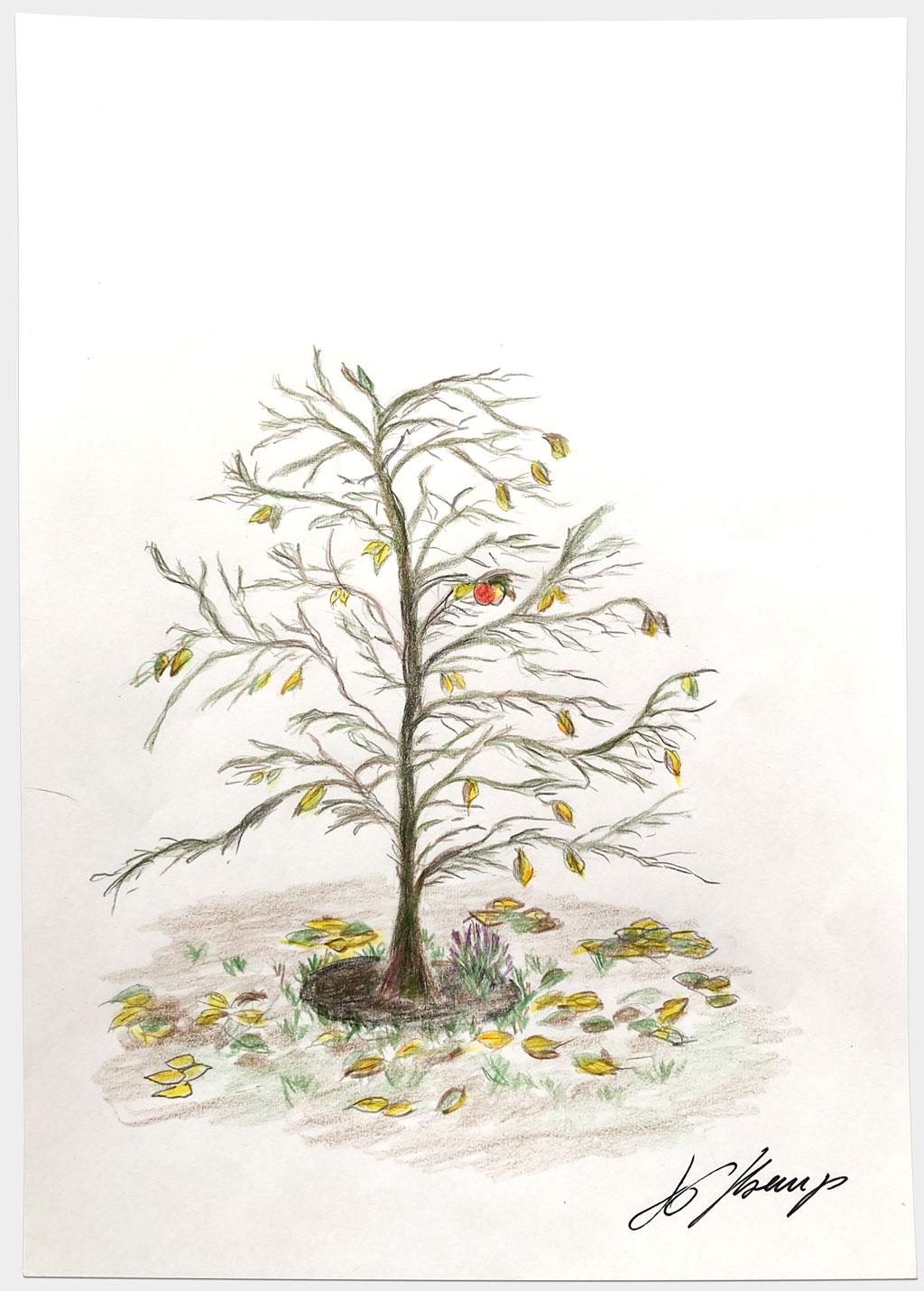 """Kremp, Jan-Gregor, """"Ohne Titel"""", 30x21 cm, Buntstift auf Papier"""