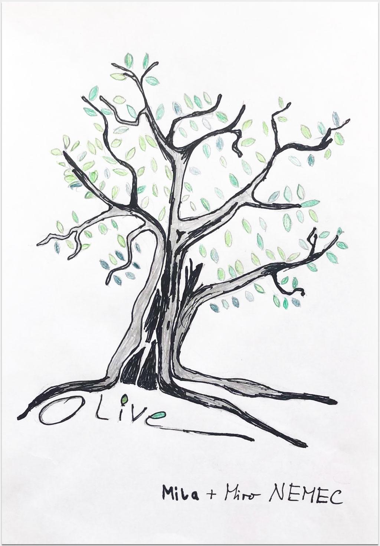 """Nemec, Miroslav, Schauspieler, """"Olive"""", 29x21 cm, Zeichenstifte auf Papier, handsigniert"""