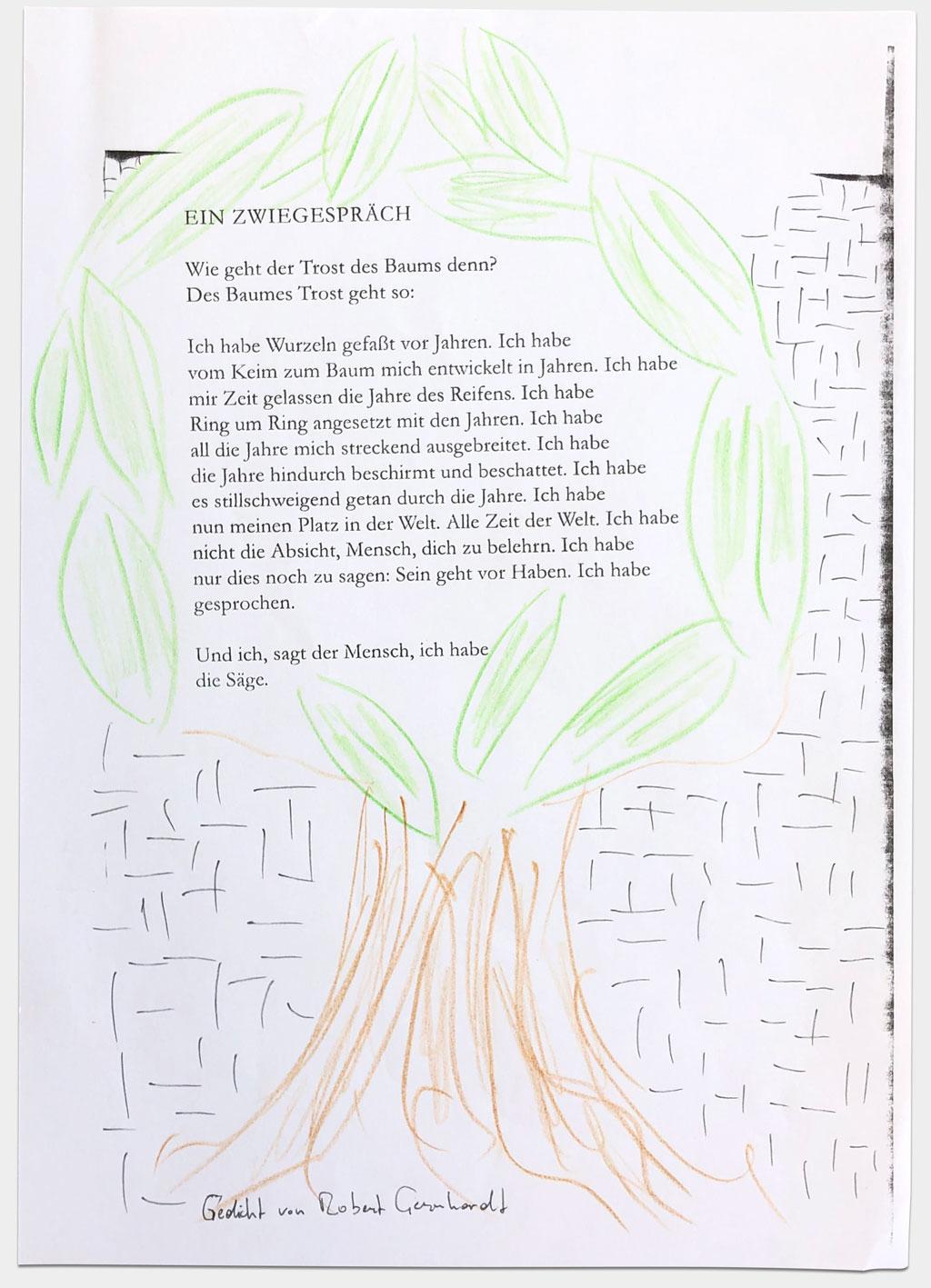"""Obonya, Cornelius, Schauspieler, """"Zwiegespräch"""", 29x21 cm, Buntstift/Druck auf Papier"""
