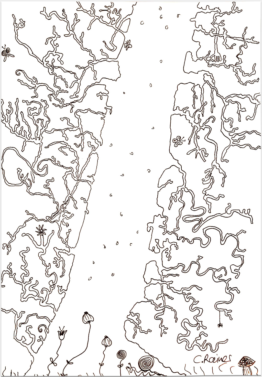 """Rainer, Christina, """"Ohne Titel"""", 21x30 cm, Tusche auf Papier"""