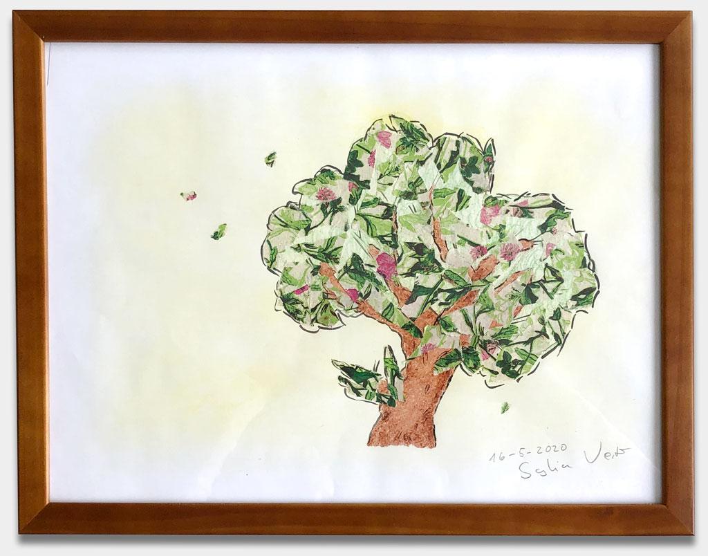 """Vester, Saskia, Schauspielerin, """"Ohne Titel"""", 33x43 cm, Collage auf Papier, gerahmt, verglast"""