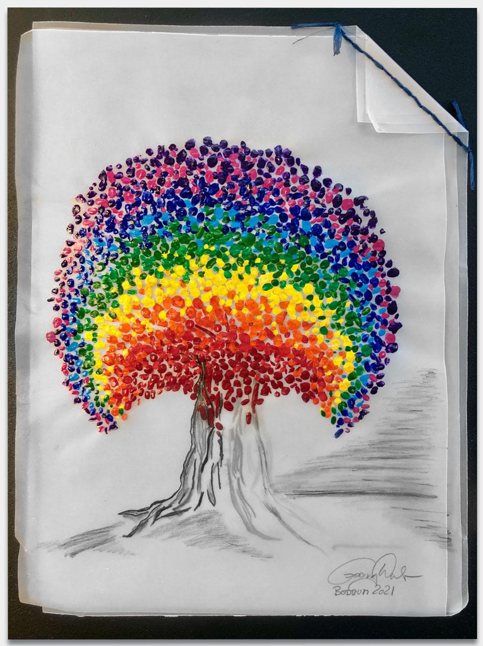 Huber, Georg P., Abteilungsdirektor Allianz Eventmanagement, 'The-Diversity-Tree', 45x35 cm ungerahmt, 60x50-cm-gerahmt, Acryl und Kohle auf Pergament, handsigniert, gerahmt