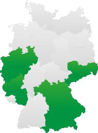 Deutschlandkarte mit den 4 Bundesländern Bayern, Nordrhein-Westfalen, Rheinland-Pfalz und Sachsen in Grün