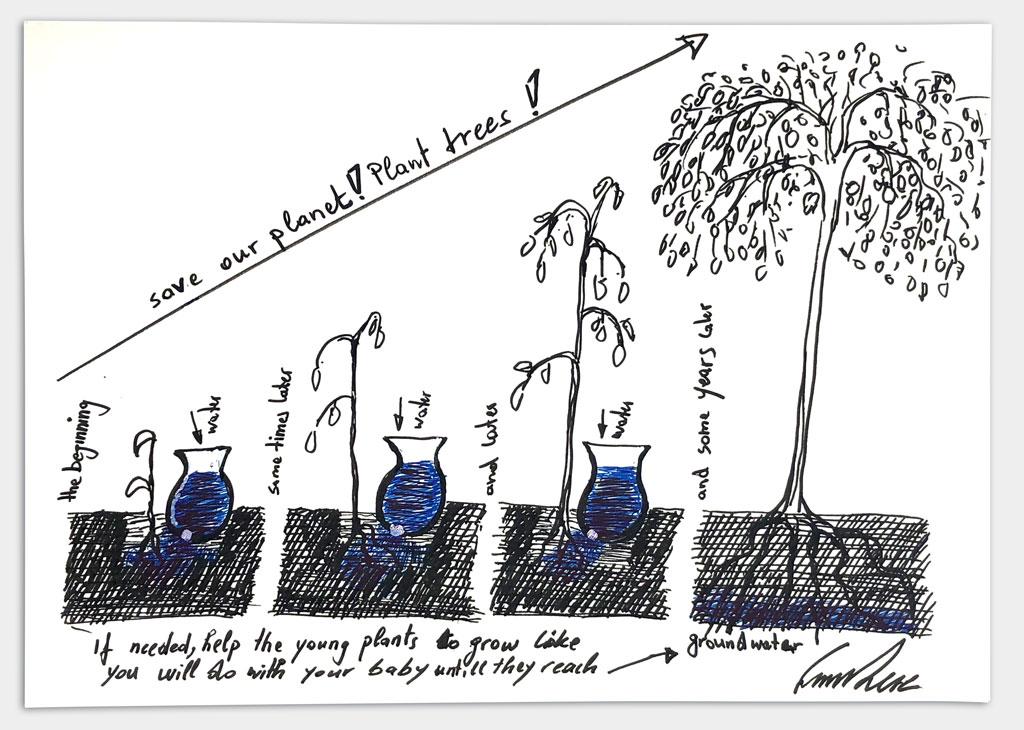 """Kéré, Francis, Architekt, """"Ohne Titel"""", 21x29,5 cm, Lackstift auf Papier, handsigniert, 1"""