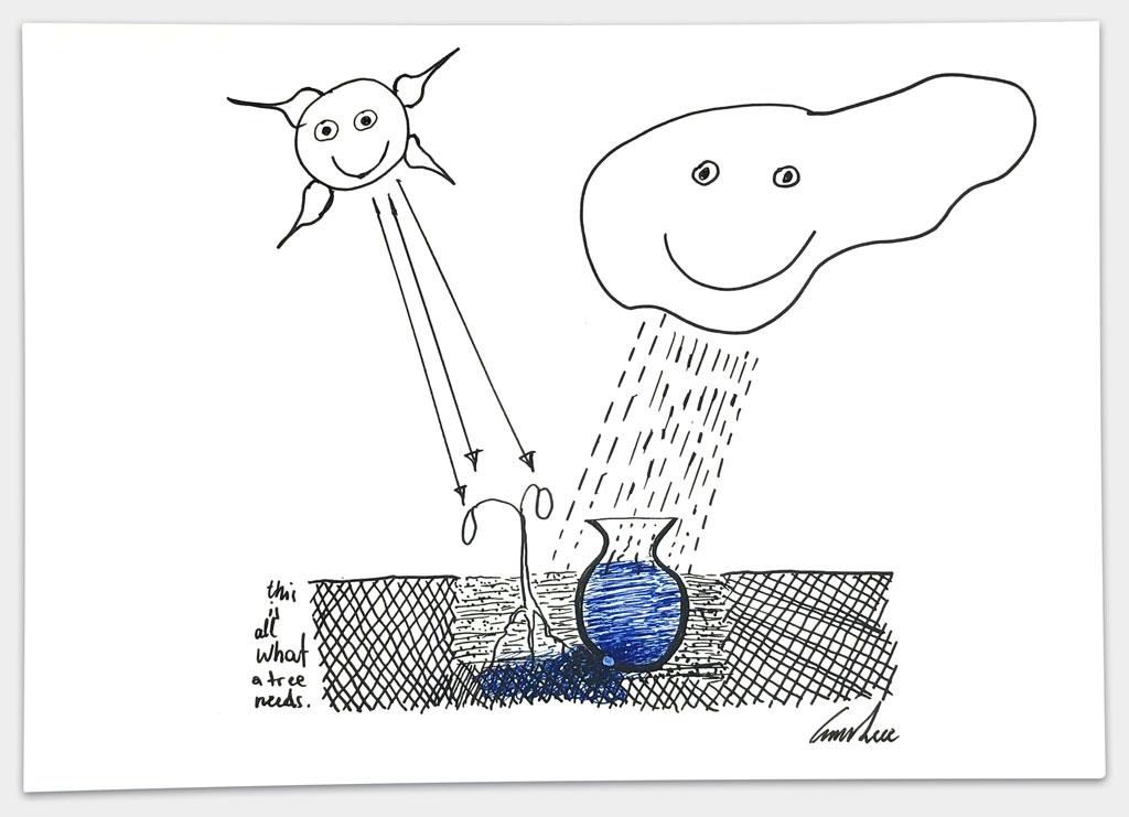 """Kéré, Francis, Architekt, """"Ohne Titel"""", 21x29,5 cm, Lackstift auf Papier, handsigniert, 2"""